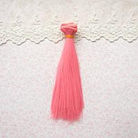 Волосы для Кукол Трессы Прямые ТЕМНО-РОЗОВЫЙ 25 см