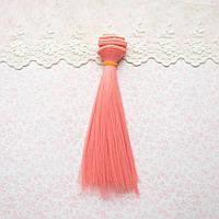 Волосы для кукол в трессах, розовый лосось - 15 см