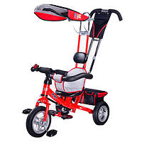 Детский трехколесный велосипед Toyz Caretero Derby - красный - родительская ручка, упоры для ног