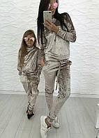 Плюшевый стильный комплект костюма мама+дочка