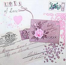 Декупажные салфетки Письма и розы 3842
