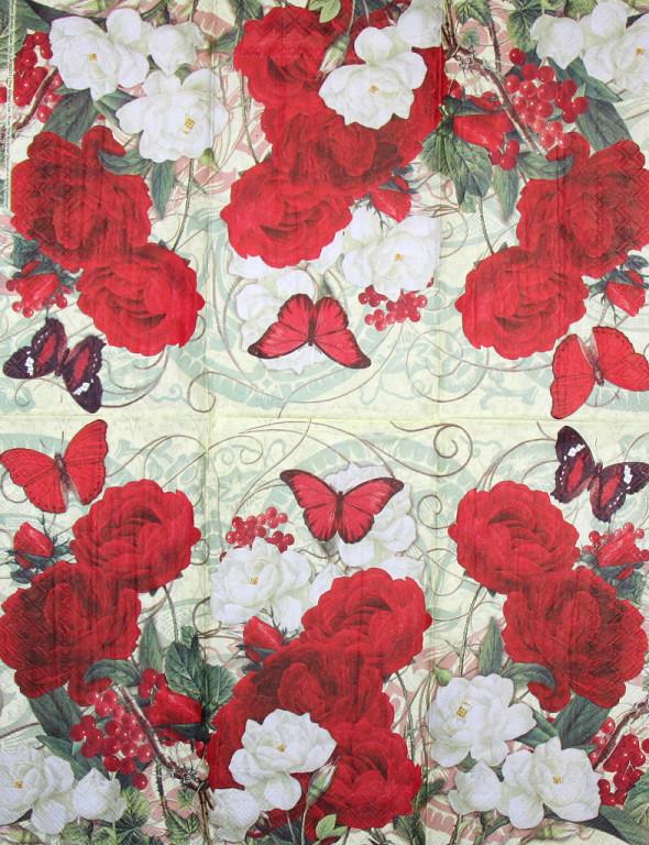 Декупажная салфетка Красные розы 3846