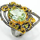 Кольцо ручной работы из серебра 925 пробы с натуральным зеленым аметистом Размер 19