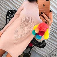 Красивое женское розовое короткое платье туника ажурная вязка