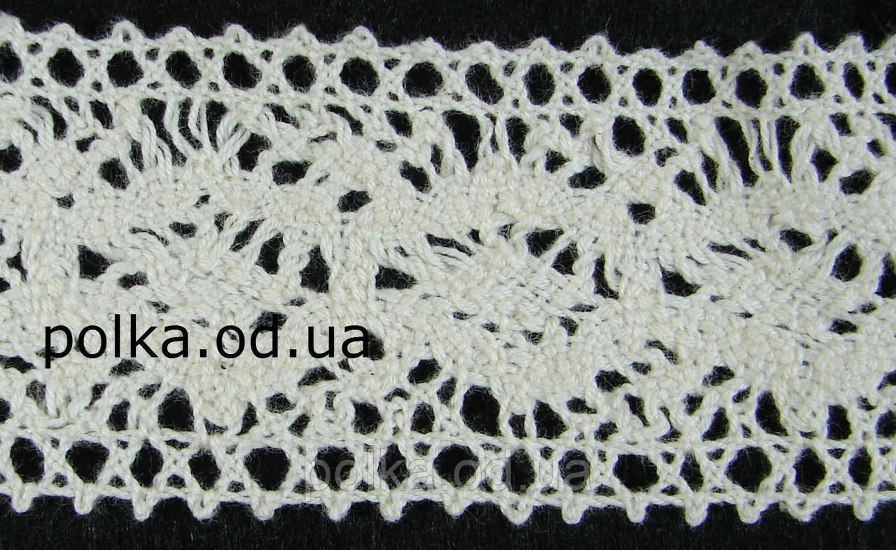 Вязаное кружево -ширина 4см,цвет молочный (1уп-45м)