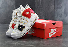 Кроссовки мужские Nike Air More Uptempo QS AIR Navy Blue Red Gold. ТОП Реплика ААА класса., фото 3