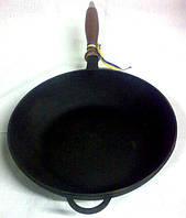 """Сковорода чугунная с деревянной ручкой 240х60мм """"Ситон"""""""