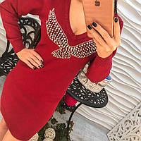 Очень красивое нарядное платье с аппликацией, мелкая машинная вязка розовое, марсала, серое, зеленое