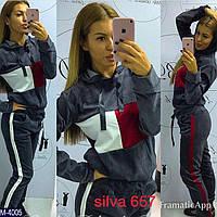 Новая коллекция 2018! Женский костюм кубики велюр серый графит штаны белый лампас и красный 42 44 46