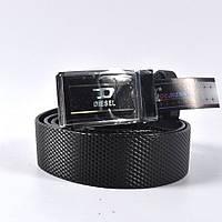 Мужской стильный кожаный ремень фирмы DIESEL (black)
