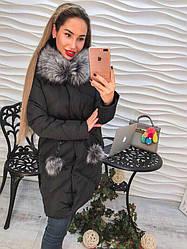 Стильное женское пальто на молнии с капюшоном и мехом черное премиум класса