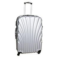 Дорожній чемодан 4 колеса (невеликий) світло-сірий, артикул: 6-244