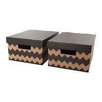 Коробка с крышкой, черный, неокрашенный, 28x37x18 см IKEA PINGLA 603.241.34