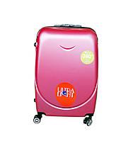 Дорожный чемодан с двойными 4 колесами (небольшой) розовый, артикул: 6-243