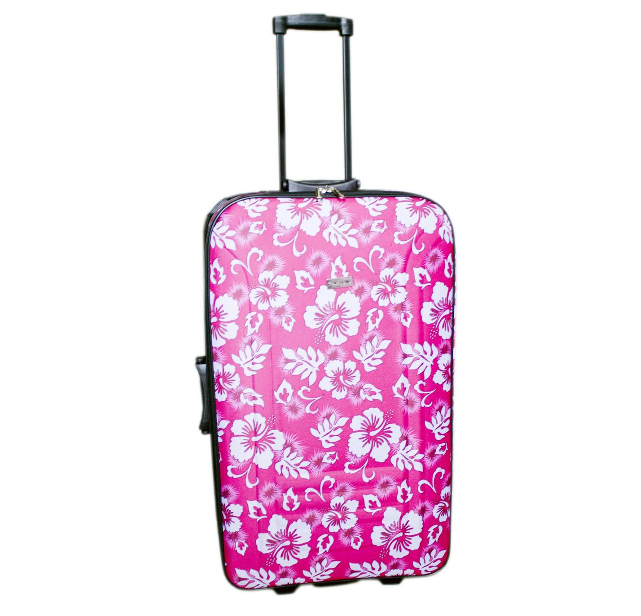Дорожній чемодан 2 колеса (великий) рожевий з квітами, артикул: 12126-680