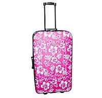 Дорожній чемодан 2 колеса (великий) рожевий з квітами, артикул: 12126-680, фото 1