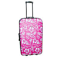 Дорожный чемодан 2 колеса (средний) розовый с цветами, артикул: 12126-680, фото 1