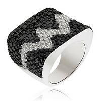 Серебряное кольцо Сердцебиение с кристаллами Swarovski 000000234