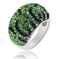Серебряное кольцо с зелеными кристаллами Swarovski Королева ночи 000003520