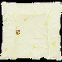 """Подушка """"нулевка"""" для новорожденных на силиконе, гипоаллергенная, верх хлопок, 38х38 см, ТМ Ромашка"""