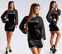Бархатное короткое черное платье с шифоновым рукавом фонарик ,  украшение из камней  арт 3663-169