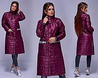 Женское пальто из плащевки на синтепоне / 2 цвета арт 3670-169