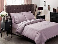 Двуспальное евро постельное белье TAC  Жаккард Collete Lilac