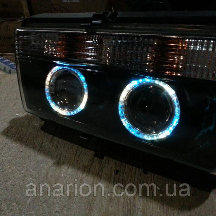 Передние фары на ВАЗ 2105 черные №2 (Ангельские глазки)