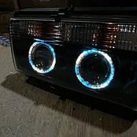 Передние фары на ВАЗ 2105 черные №2 (Ангельские глазки) , фото 1