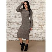 Платье вязаное серое