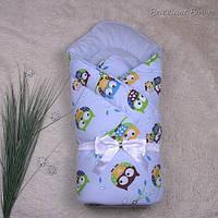 """Зимний конверт-одеяло """"Valleri"""" совята, голубой, фото 1"""