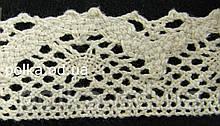 В'язане мереживо льон млочное, ширина 3,5 см, колір молочний(1уп=46м)