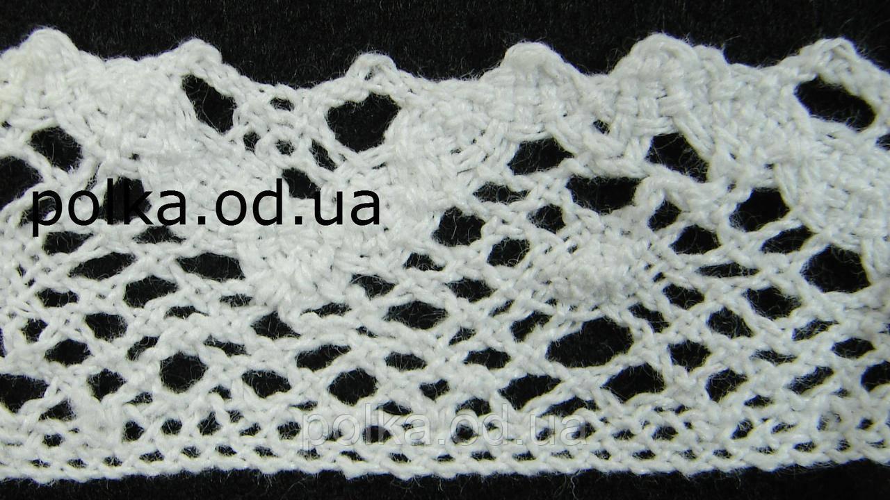 Вязаное кружево -ширина 3см,цвет белый(1уп-45м)