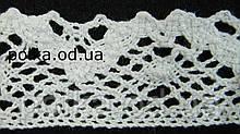 В'язане мереживо льон білий, ширина 3,5 см, колір білий(1уп-46м)