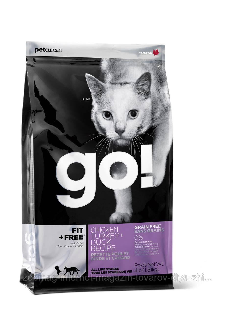 Сухой беззерновой корм «Go! 4 вида мяса: курица, индейка, утка и лосось» (для котят и кошек) 7,26кг