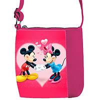 Розовая сумка для девочки с принтом Мики маус