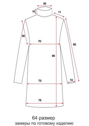 Платье с воротником - прямой рукав - 64 размер - чертеж