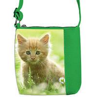 Зеленая сумка для девочки с принтом рыжая кошка