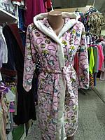 Мягкий, плюшевый махровый халат под пояс для подростка в расцветке