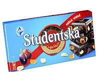 """Шоколад Studentska """"ЧЕРНЫЙ"""" с арахисом, изюмом и цитрусовым желе, 180г"""