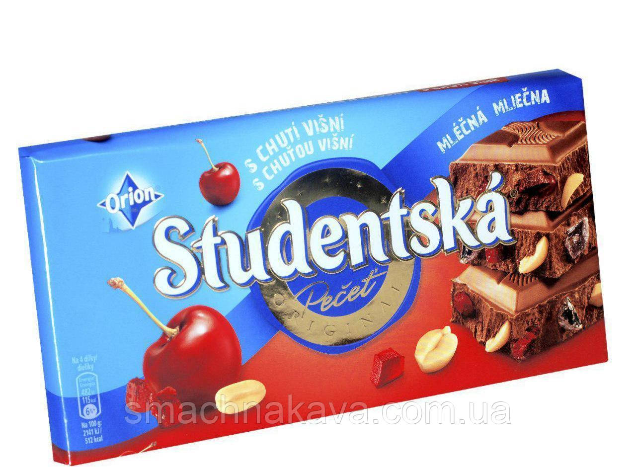 "Шоколад Studentska ""ВИШНЯ"" молочный с арахисом и кусочками желе, 180 г"