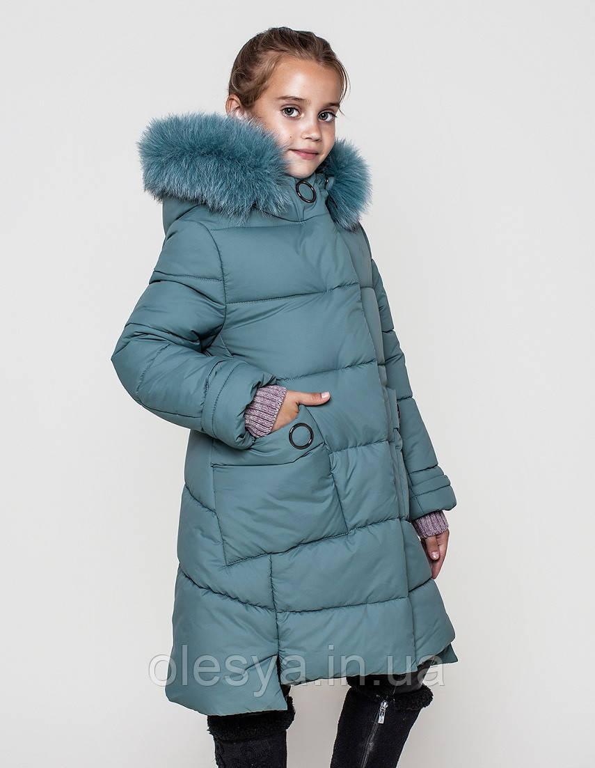Пальто детское зимнее на девочку на тинсулейте размеры 128- 140 Энди Фисташка