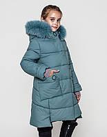 Пальто детское зимнее на девочку на тинсулейте размеры 128- 152 Энди Фисташка