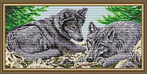 """Набор алмазной вышивки (мозаики) животные """"Пара волков"""""""