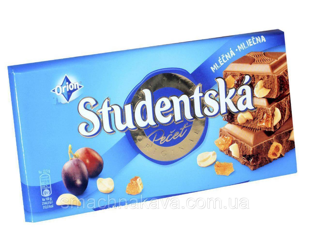 "Шоколад Studentska  ""МОЛОЧНЫЙ"" с арахисом и желе,180 г"