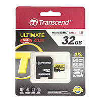Карта памяти Transcend 32GB Ultimate microSDHC UHS-I U3 Class 10 95MB/s 633x + adapter