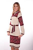 Вязаное платье Влада красная с кокеткой