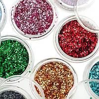 Набор фольги  мелкой для дизайна ногтей, 12 цветов