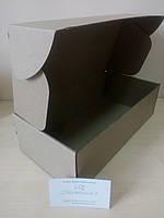 Коробка для подарка картонная, для мини бутылки 300 х 150 х 90 мм, 3-х слойная, бурая, самосборная