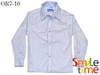 Рубашка  стильная детская с длинным рукавом Штрихи р.128 SmileTime, голубая